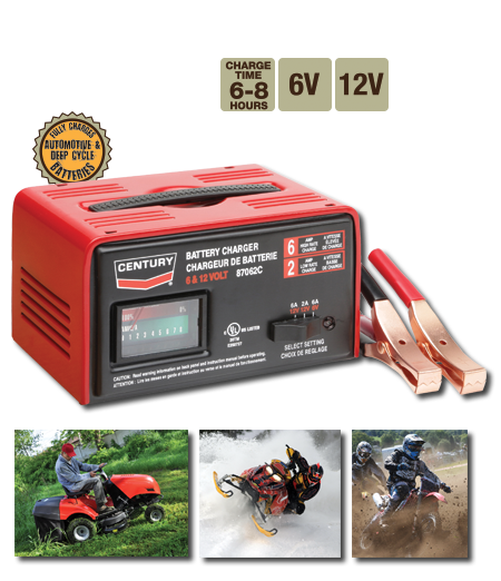 Century - Battery Service Equioment - 87062C,6 Amp high, 6V & 12V - 2 Amp low, 12V Battery Charger